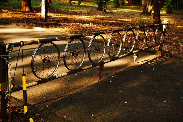 車輪のフェンス